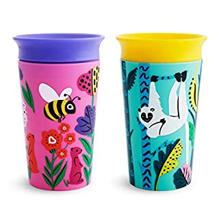 Munchkin Miracle 360 WildLove Sippy Cup, 9 Oz, 2 Pack, Bee/Lemur