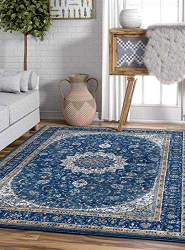 Well Woven Djemila Medallion Blue Vintage Persian Floral Oriental Area Rug 5 x 7 (5'3