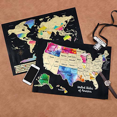 Scratch Off Map of The World - (2-in-1) World Map with Scratch Off USA Map,  Gift Messaged Box + Storage Pouch with Bonus Tools - 23.4\