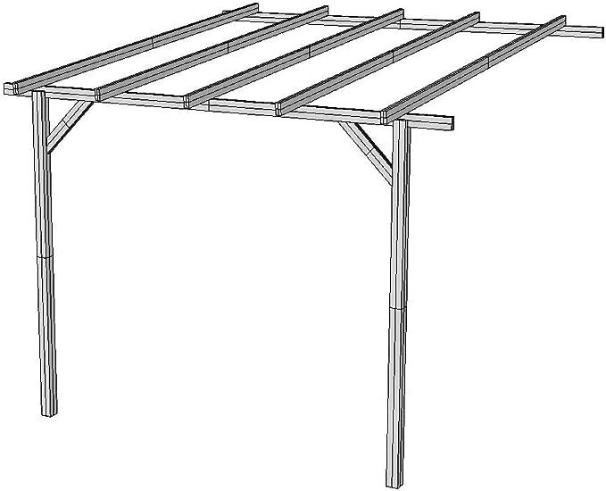 AD servicios Pérgola para Pared de Madera tratada 270/240 cm x 240 cm x 240 cm