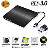 External DVD CD Drive Burner USB 3.0 Ultra Slim CD DVD-RW Reader Rewriter Drive Player,External Optical Drive,DVD ROM Drive for Apple Macbook, Macbook Pro or other Laptop/Desktops