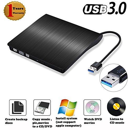 (External DVD CD Drive Burner USB 3.0 Ultra Slim CD DVD-RW Reader Rewriter Drive Player,External Optical Drive,DVD ROM Drive for Apple Macbook, Macbook Pro or other)