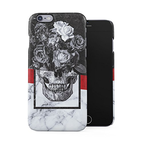 White Skull Rose (Floral Roses Human Skull Black & White Marble Stone Plastic Phone Snap On Back Case Cover Shell For iPhone 6 Plus & iPhone 6s Plus)