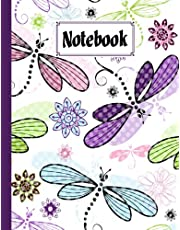 """Notebook: Composition Notebook Colorful dragonflies- College Ruled 120 Pages - Large 8.5"""" x 11"""" By Nick Gregory"""