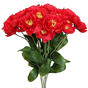 Htmeing 10pcs 2 Heads Artificial Poppy Flowers Silk Coquelicot Rosemary Flowers Wedding Home Decoration (Red) 31