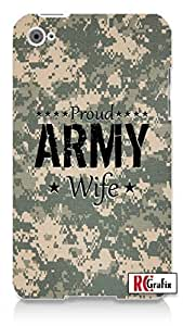 Proud Army Wife USA Desert Digital Camo Apple ipod 4 Quality Hard Case Snap On Skin for ipod 4/4G (WHITE)