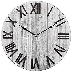 BEW Decorative Wall Clock, Large Tuscan Style Clock with 3D Stereo Roman Numerals, Battery Operated Silent Wood Clock for Living Room, Dining Room, Loft, Bedroom, Kitchen, Farmhouse, Cafe - 18 Inch