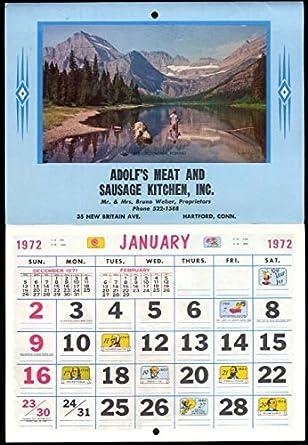 Adolph S Meat Sausage Kitchen Hartford Ct Calendar 1972 Mr Mrs