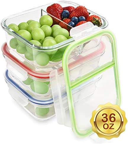 Glass Meal Prep Containers Compartment product image
