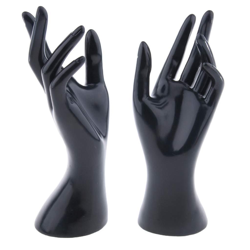 perfk 2pcs Pr/ésentoir Bijoux /à Main de Femme Stand /à Montre//Bague//Bracelet//Gants Noir