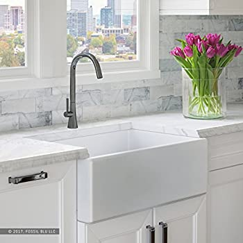 Superieur Luxury 30 Inch Pure Fireclay Modern Farmhouse Kitchen Sink In White, Single  Bowl With Flat Front, Includes Stainless Steel Drain, FSW1001 By Fossil Blu