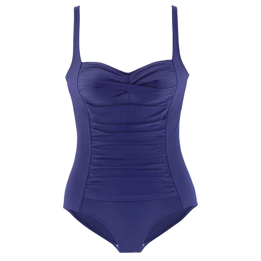 Womens V Neck Solid One-Piece Swimsuit Beach Swimwear Bathing Suit Swimsuit Lace Up Monokini