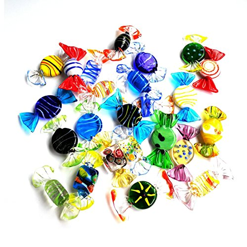 Sumje 24pcs Vintage Murano Style Various Glass Sweets Candy Ornament for Home Party Wedding Christmas Xmas Festival Decorations Gift ()