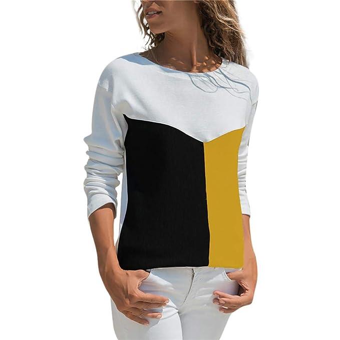 7b69500c62 Zarupeng Costura Color de Contraste Cuello Redondo Manga Larga Camiseta  Mujer Top