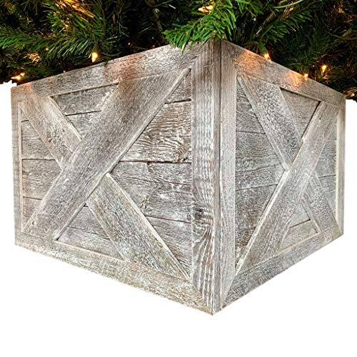 BarnwoodUSA | Deluxe Wooden Tree Box Collar | White Wash | Farmhouse Tree Box | Christmas Tree Skirt | Rustic | Decorations | Vintage | 100% Reclaimed & Recycled Wood | 4 Sides