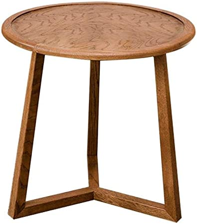 Xjzka Round Sofa Side Table Desk Small Dining Table Folding Wooden