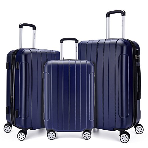 Fochier Luggage 3 Piece Set Expandable ABS+PC Hard Shell Spinner Suitcase...