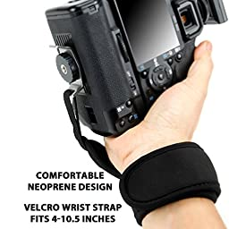 Professional DSLR Camera Hand Grip Strap with Neoprene Design and Metal Plate by USA Gear - Works With Canon EOS Rebel T6 , PowerShot SX420 IS , G7 X Mark II and More Canon Cameras