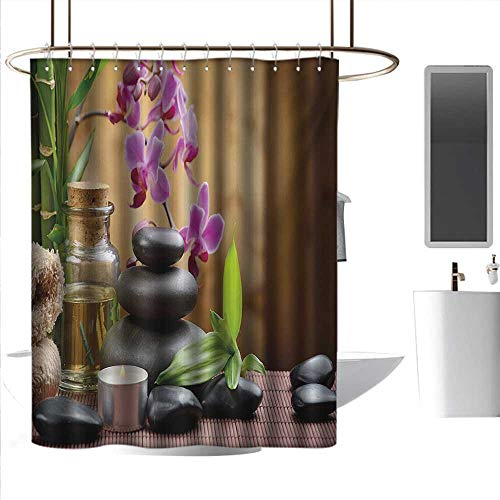 Shower Curtains Track Spa,Warm Welcoming Spa Reception Big Healing Stones Candles Scent Flowers Print,Purple Black and Green,W108 x L72,Shower Curtain for Small Shower stall