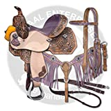 ME Enterprises Premium Leather Western Barrel Racing Adult Horse Saddle Tack, Size 14″-18″ Inches Seat Available, Free Matching Leather Headstall, Breast Collar, Reins