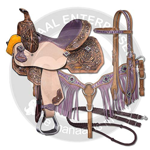 ME Enterprises Youth Child Premium Leather Western Barrel Racing Pony Miniature Horse Saddle Tack, Size 10 to 12 Inch Seat Available, Get Leather Headstall, Breast Collar,Reins (12'' Inches Seat) (Western Miniature)