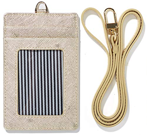 Lanyard Wallet Women Genuine Leather ID Badge Holder Girls Neck Window Card Business Strap Purse Case (Gold)
