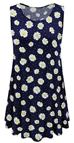 Jescakoo Summer Floral Flare Tank Top for Women Sleeveless Tees Loose Fit Daisy M