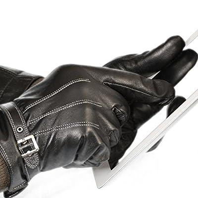 Vetelli Men's Winter Gloves / Black Leather Driving Gloves (Touchscreen Technology)