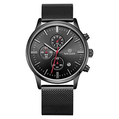 Megir Gold Stainless Steel Quartz Watch for Men Man's Business Chronograph Analog Wristwatch 24-Hour