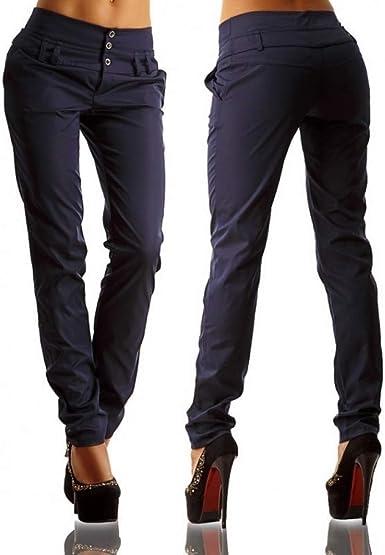 Nobranded Pantalones De Corte Slim Clasico Para Mujer Cintura Con Botones Cintura Alta Pantalones De Trabajo A Medida Para Mujer Pantalon De Mujer Para Mujer Amazon Es Ropa Y Accesorios