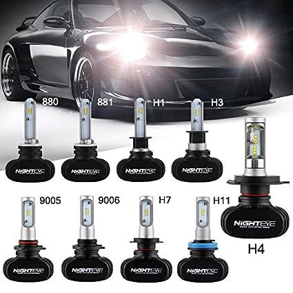 H1 LED Car Headlight Bulbs Conversion Kits,50W 8000LM 6500K Cool White CSP LED Chips Automotive Driving Headlight Bulbs Fog lights Replacement 3 Year Warranty Wanmingtech