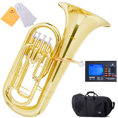 Mendini MEP-L Lacquer Brass B Flat Euphonium with Stainless Steel Pistons, Gold
