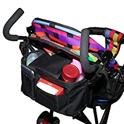ACRATO Stroller Organizer Bag Universal Diaper Bag with Net Pockets Drink Holders Insulated Cup Holders Durable for Parents and Babies