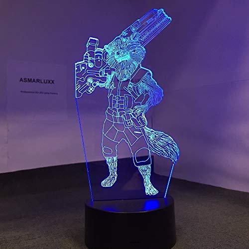 FFYYJJLEI Novelty Rocket Raccoon Guardians 3D Led Light Halloween Decoration Gift Kid Holiday USB 7 Colors Change Lava Lamp Kids Hobbies ()