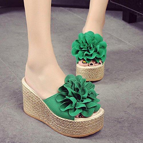 LvYuan Deslizadores del verano de las mujeres / manera ocasional de la comodidad / talón de cuña / parte inferior gruesa / plataforma impermeable / alto talón / flor atractiva / sandalias / zapatos de Green