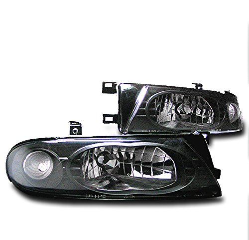 ZMAUTOPARTS Replacement Headlights Headlamps Black For 1993-1997 Nissan Altima