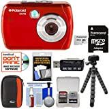 Polaroid iS048 Waterproof Digital Camera (Red) 32GB Card + Case + Tripod + Cleaning Kit
