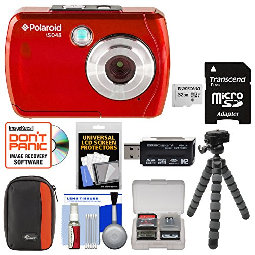 Polaroid iS048 Waterproof Digital Camera (Red) with 32GB Card + Case + Tripod + Cleaning Kit by Polaroid