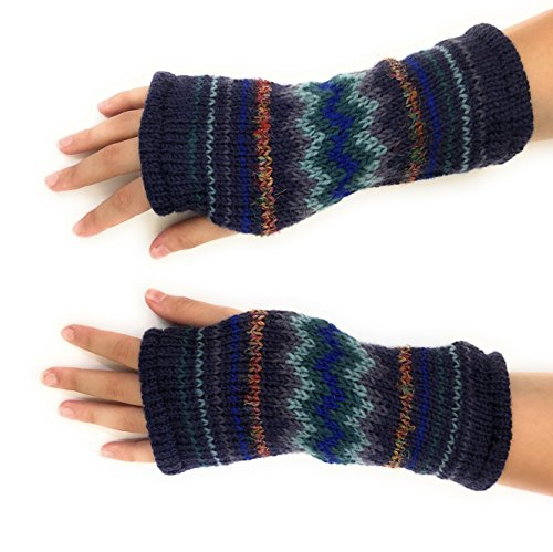 Hand Knit Fingerless Winter Striped Texting Gloves Warm Wool Fleece Lined ()
