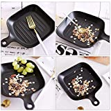 Square Ceramic Baking Tray with Single Handle Roasted Rice Dish Pasta Pan for Household Matte Glaze Grind