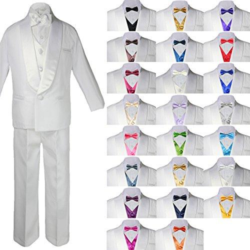 Unotux New Born Baby Kids Child Kiddo Toddler Boy Teen Formal White Shawl Lapel Suit Set Satin Vest & Bow Tie Sm-20 (Vest Shawl Satin)
