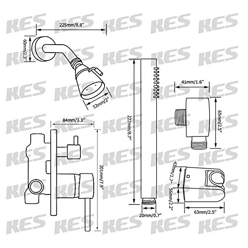 70%OFF KES X6222 Bathroom Single Handle Shower Faucet Trim Valve Body Hand Shower Complete Kit, Polished Chrome