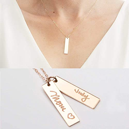 Signature Bar Necklace,Handwritting Bar Necklace,Engraved Bar Name Necklace,Custom Handwritting Necklace