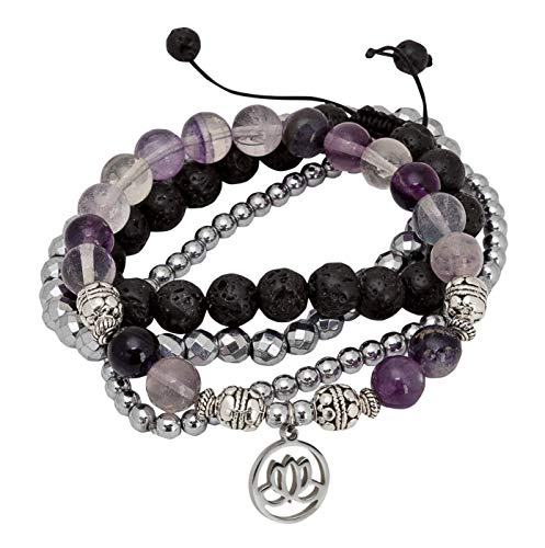 SPUNKYsoul Purple Fluorite Lotus New Beginnings Bracelet Hematite for Healing Stack Bracelet Set ()