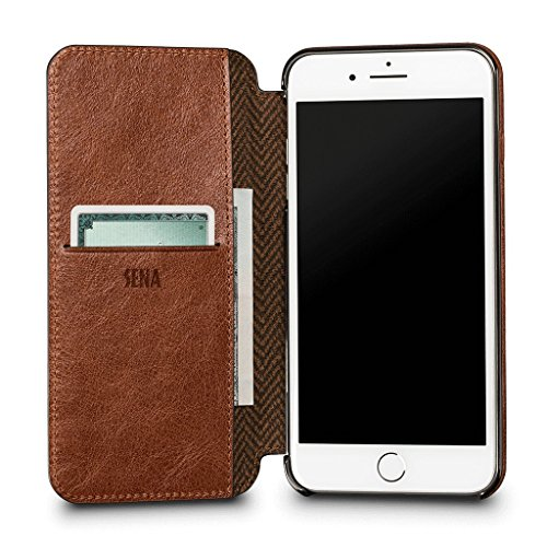 Ultra Thin WalletBook Leather Case for iPhone 8 Plus / 7 Plus (Cognac)