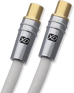 XO- Cable coaxial a?reo 2m de Macho a Macho blindado TV/AV con ...