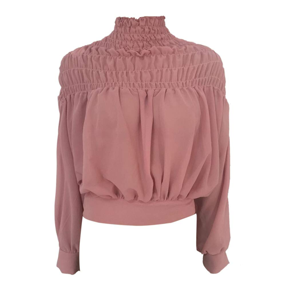Blouse For Women-Clearance Sale, Farjing Fashion Solid Blouse Turtleneck Ruched Lantern Long Sleeve Shirt Loose Top(US:8/L,Pink ) by Farjing (Image #5)