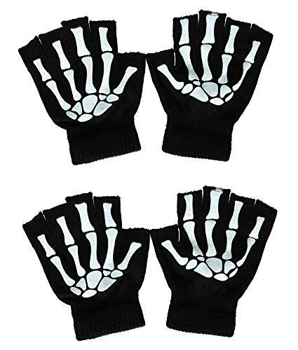 Skeleton Gloves Costume Half Finger Glow in the Dark Knit Gloves, 2 Pairs