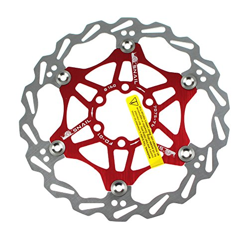 160mm Floating Disc Brake Rotor 6 Bolts CYSKY Stainless Steel Bike Disc Brake Rotor for Most Bicycle Road Bike Mountain Bike BMX MTB (Include 6 Screws,Red)
