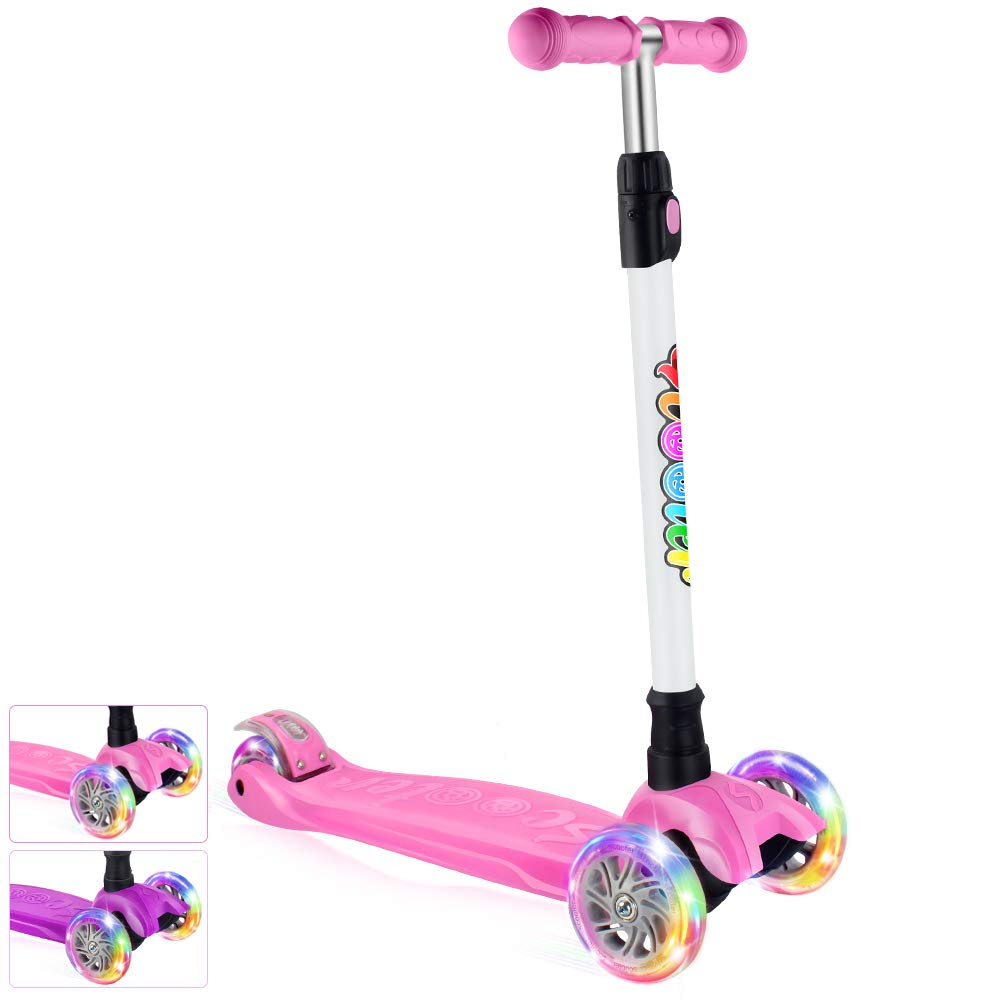 BELEEV Kick Scooter for Kids 3 Wheel Scooter for Toddlers Girls & Boys, 4 Adjustable Height, Lean to Steer with PU LED Light Up Wheels for Children from 3 to 14 Years Old (Lovely Pink)